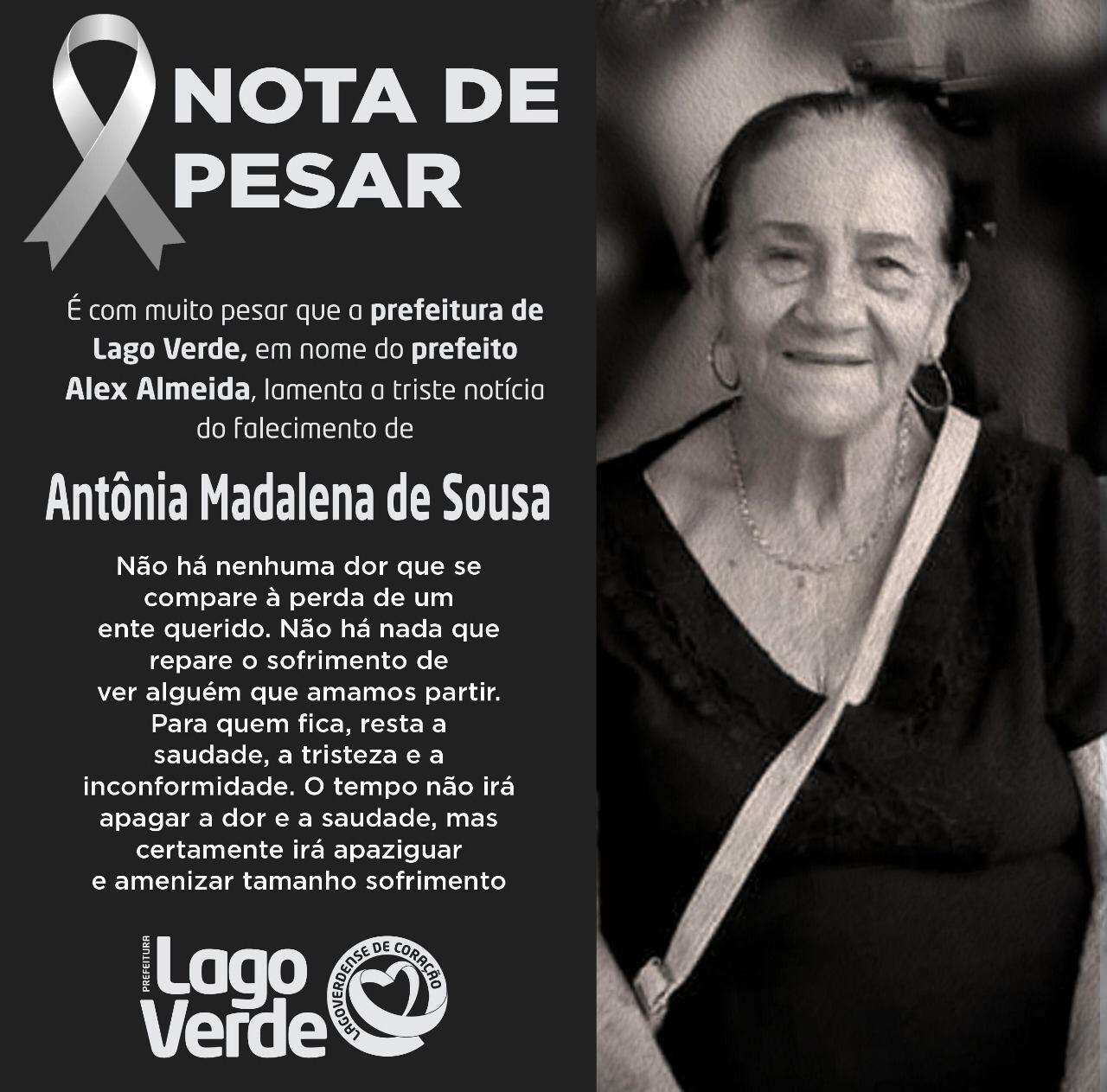 Prefeito Alex Almeida emite nota de pesar pela morte do ex-vereador Osmar Rodrigues e Dona Antônia Madalena.