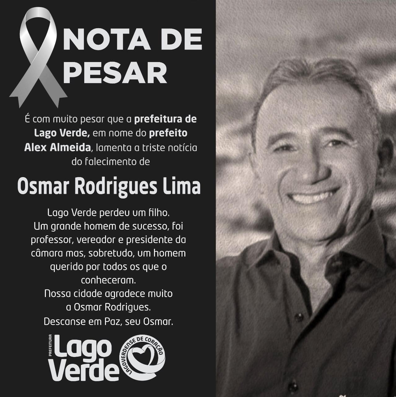 Prefeito Alex Almeida, emite nota de pesar, pelo falecimento do ex-vereador Osmar Rodrigues e Dona Antônia Madalena.